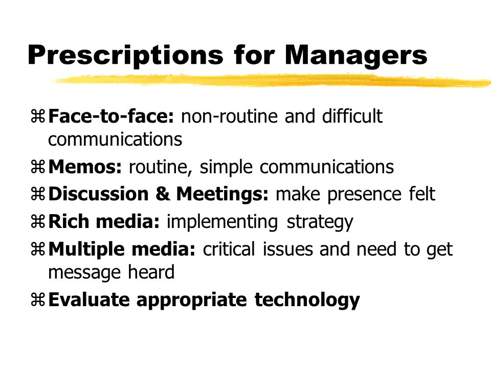 Prescriptions for Managers