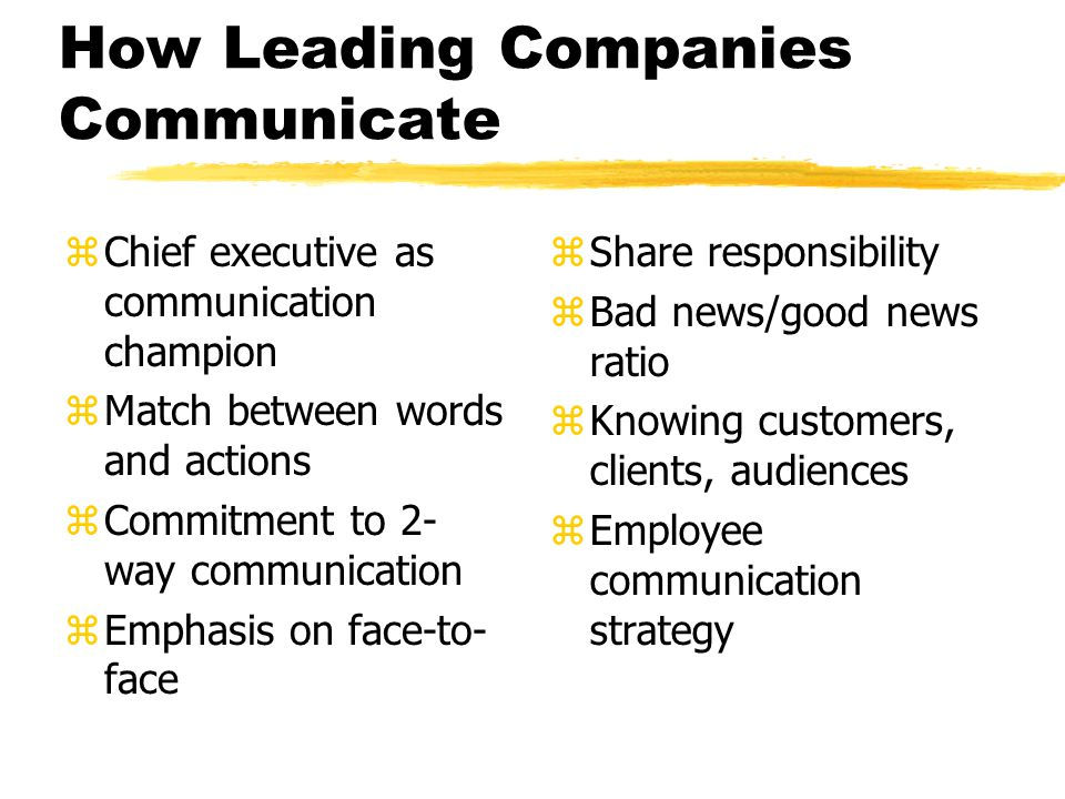 How Leading Companies Communicate
