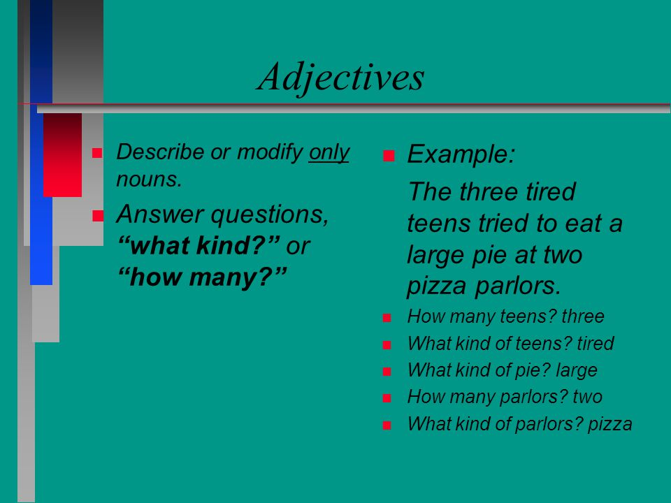 Adjectives Describe or modify only nouns. Answer questions, what kind or how many Example: