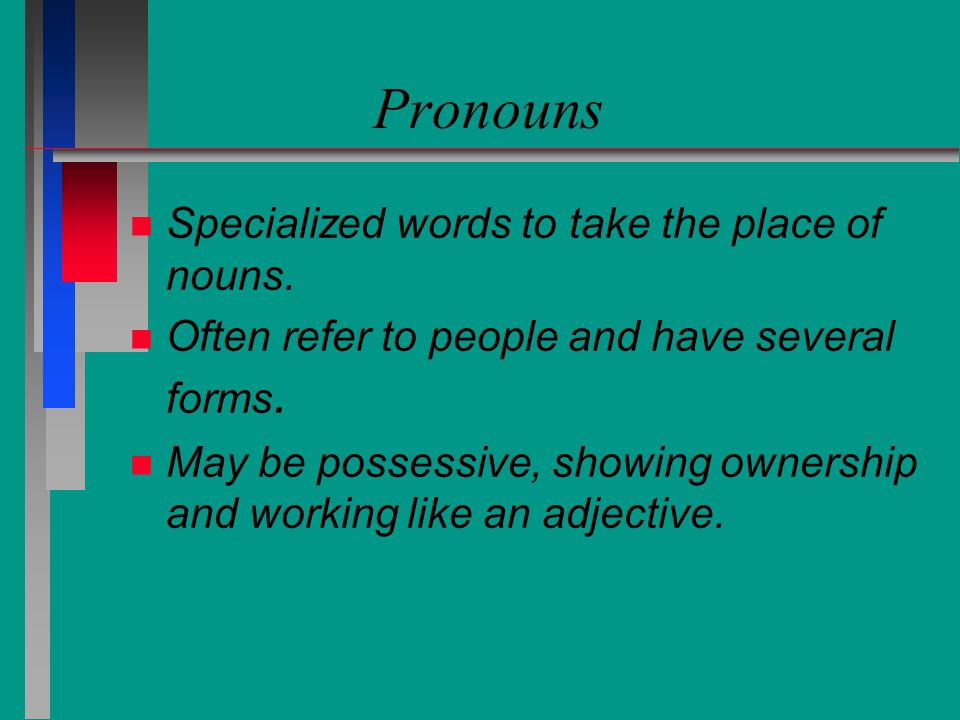 Pronouns Specialized words to take the place of nouns.