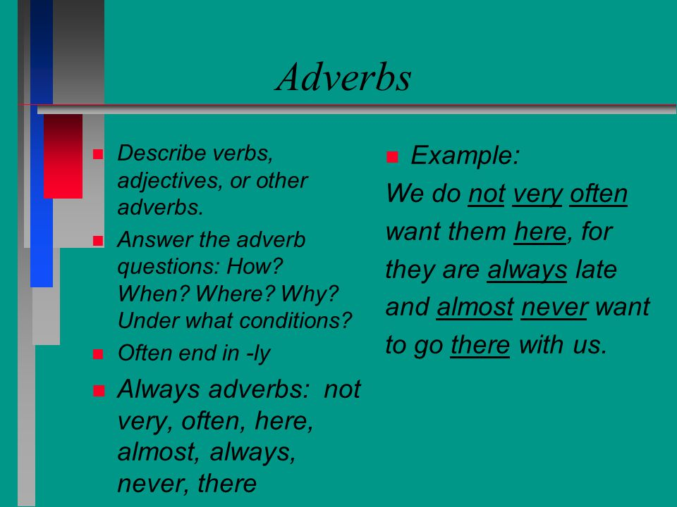 Adverbs Example: We do not very often want them here, for