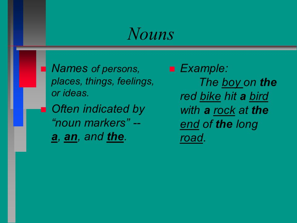 Nouns Names of persons, places, things, feelings, or ideas.