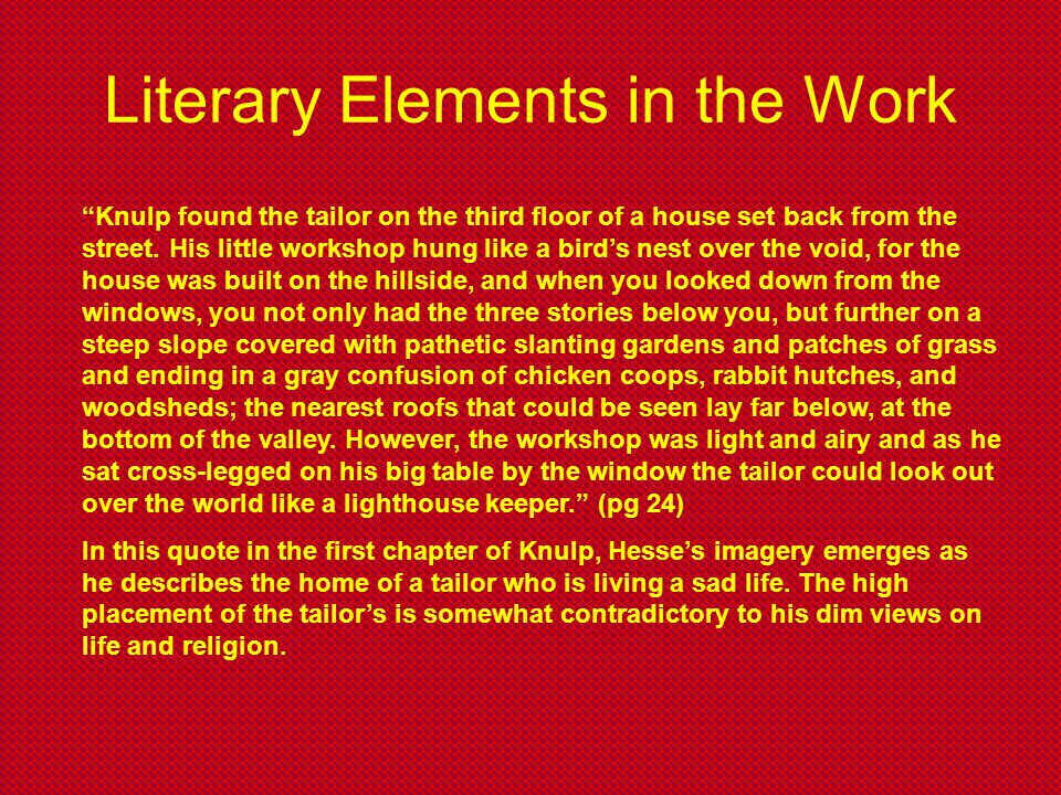 Literary Elements in the Work