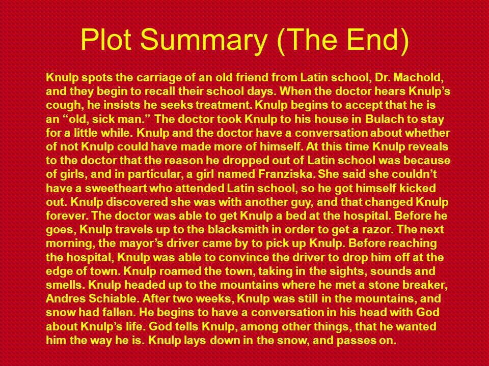 Plot Summary (The End)