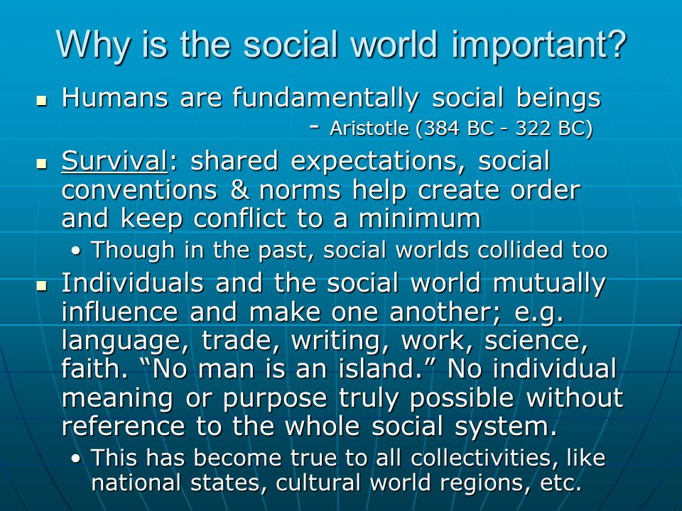 Why is the social world important