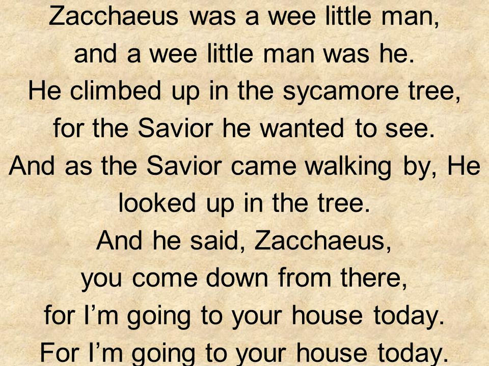 Zacchaeus was a wee little man, and a wee little man was he