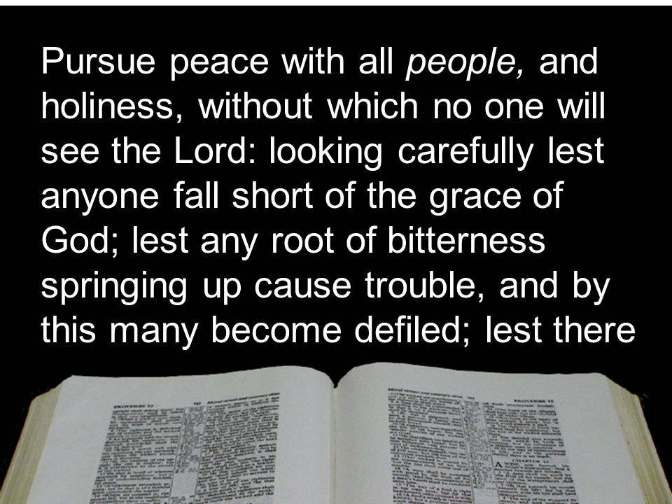 Pursue peace with all people, and holiness, without which no one will see the Lord: looking carefully lest anyone fall short of the grace of God; lest any root of bitterness springing up cause trouble, and by this many become defiled; lest there