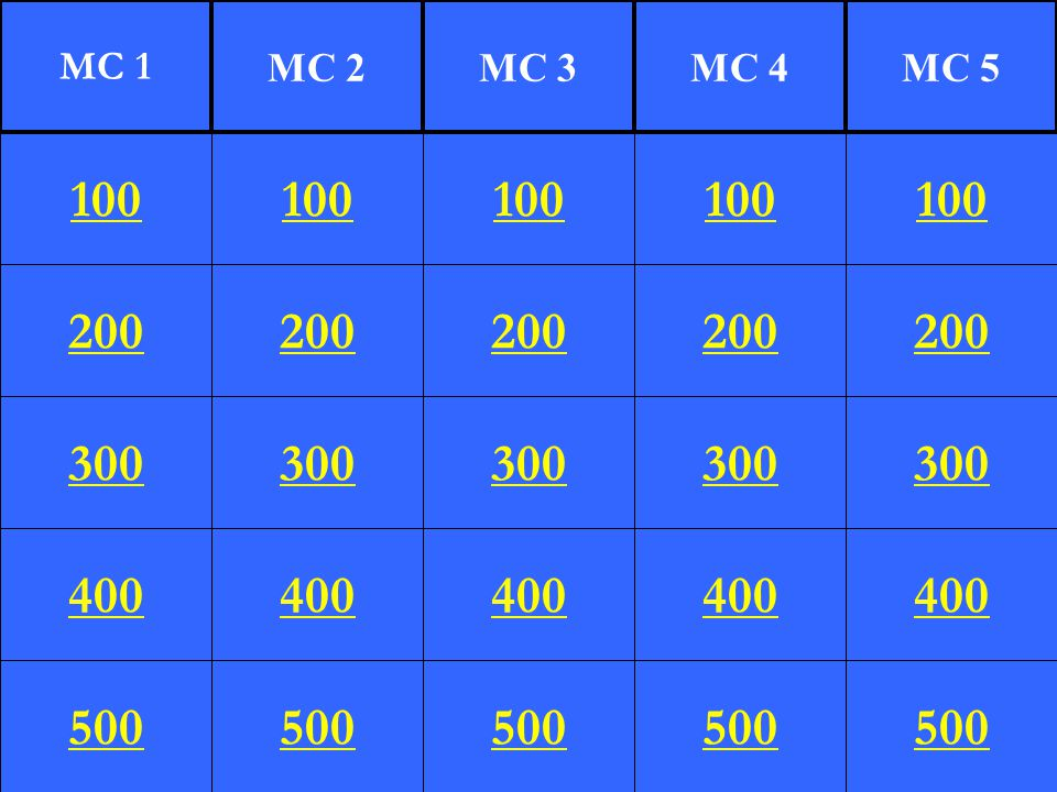 MC 1 MC 2. MC 3. MC 4. MC 5. 100. 100. 100. 100. 100. 200. 200. 200. 200. 200. 300. 300.