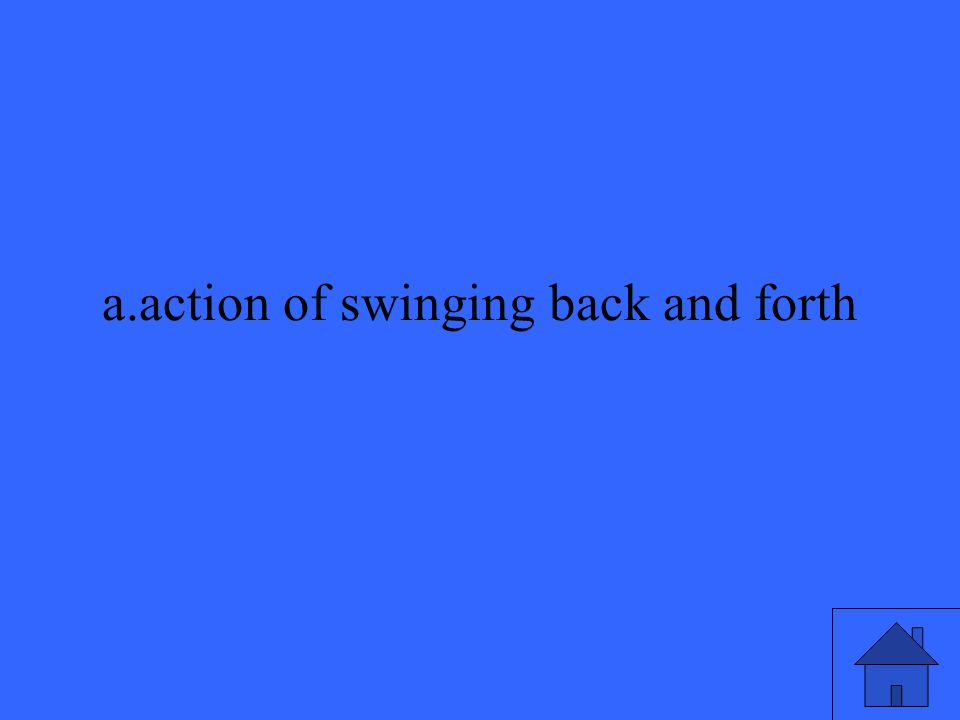 a.action of swinging back and forth