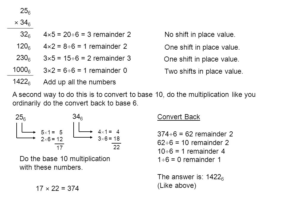 One shift in place value.