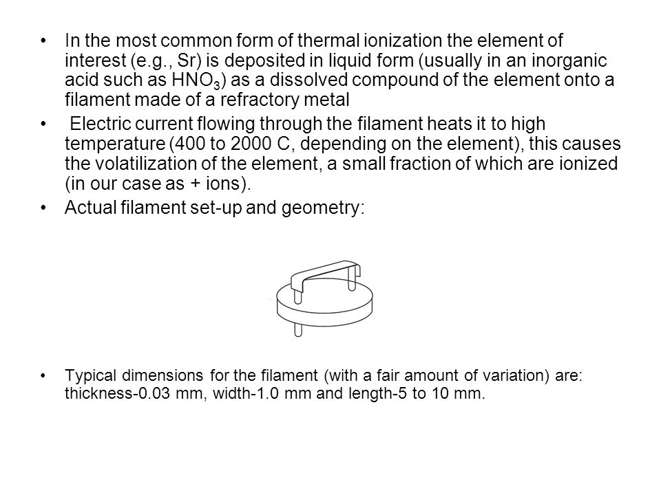 Actual filament set-up and geometry: