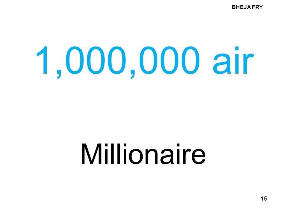 BHEJA FRY 1,000,000 air Millionaire