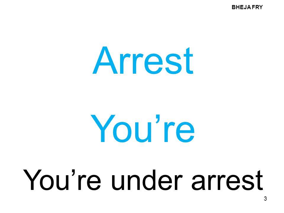 BHEJA FRY Arrest You're You're under arrest
