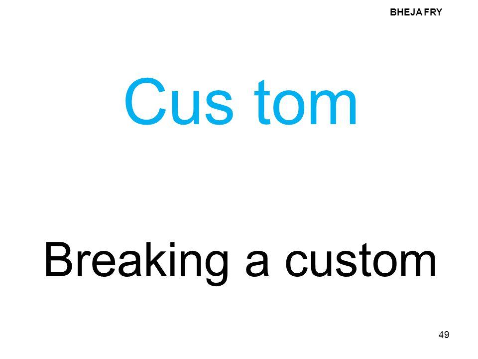 BHEJA FRY Cus tom Breaking a custom