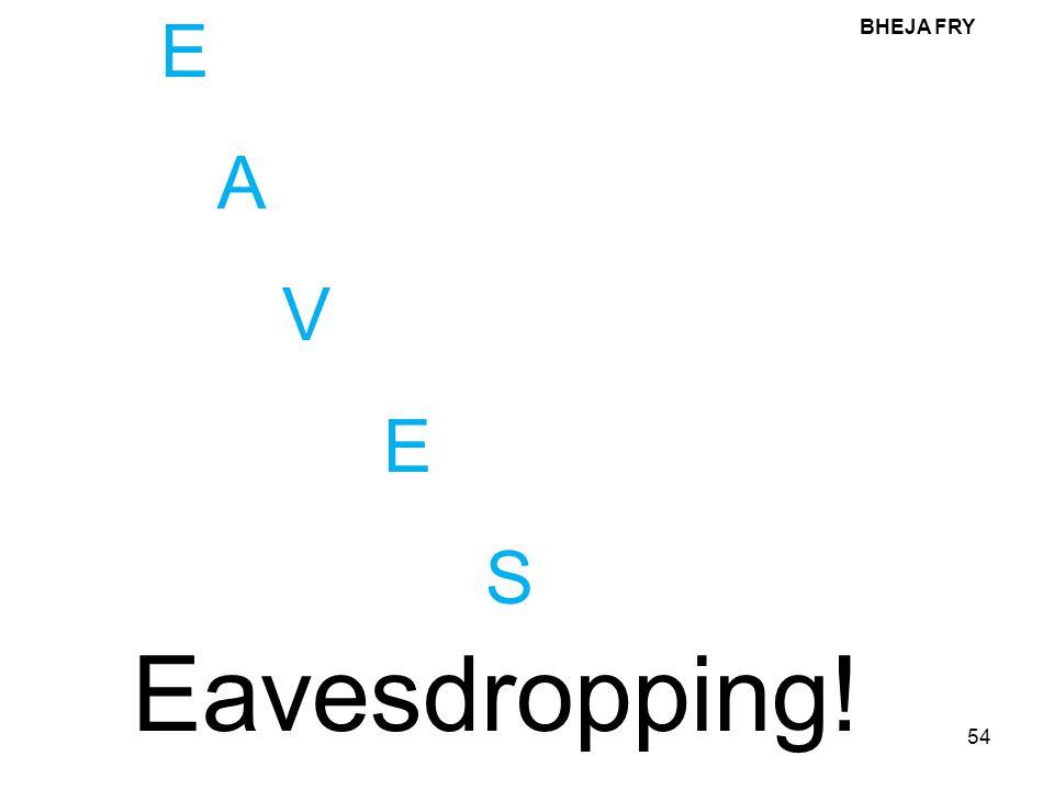 E A V S BHEJA FRY Eavesdropping!