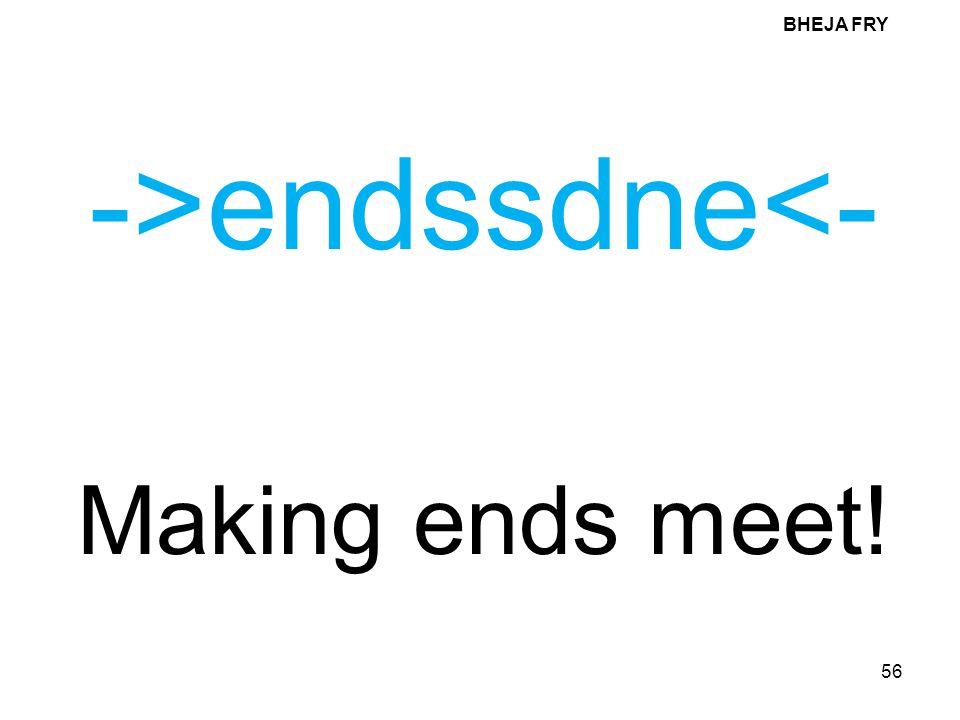 BHEJA FRY ->endssdne<- Making ends meet!