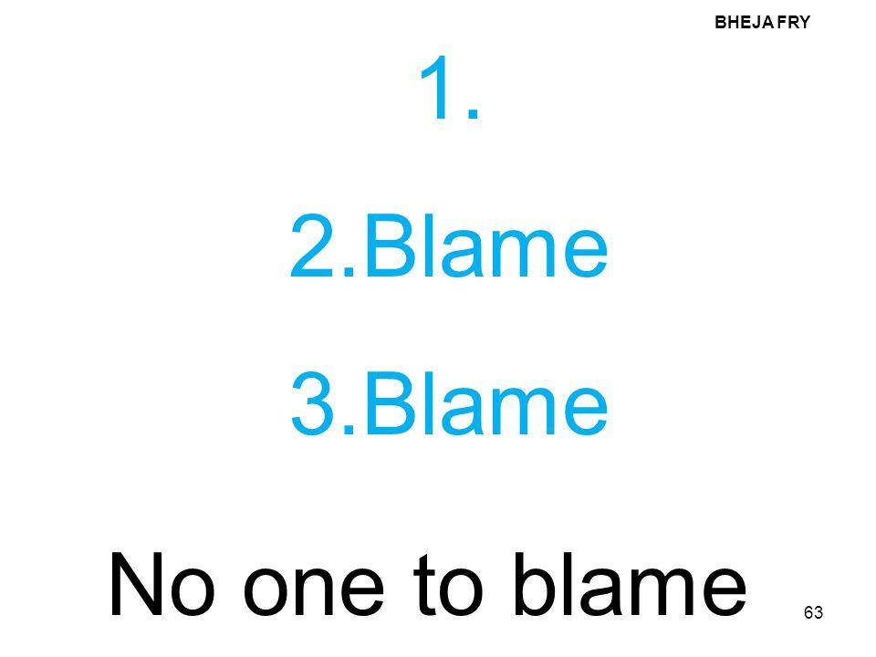 BHEJA FRY 1. 2.Blame 3.Blame No one to blame