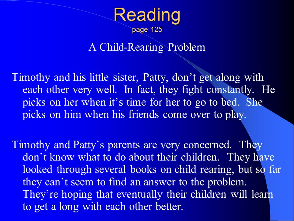 A Child-Rearing Problem