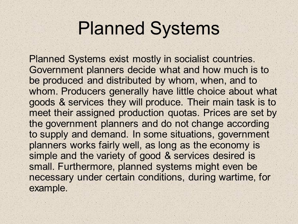 Planned Systems