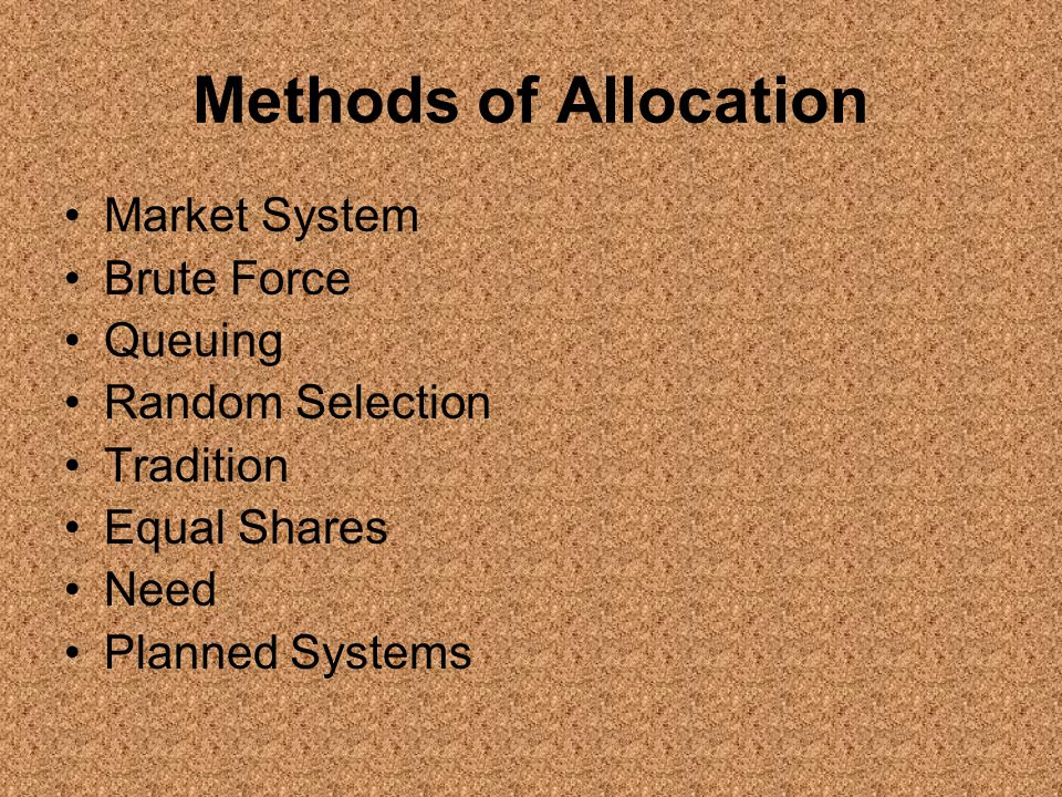 Methods of Allocation Market System Brute Force Queuing
