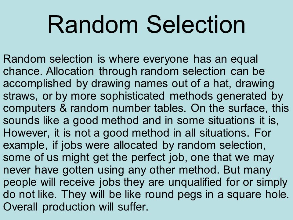 Random Selection