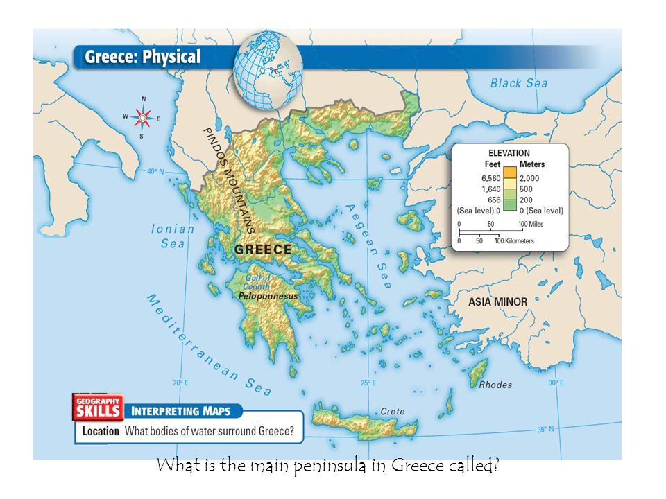 What is the main peninsula in Greece called