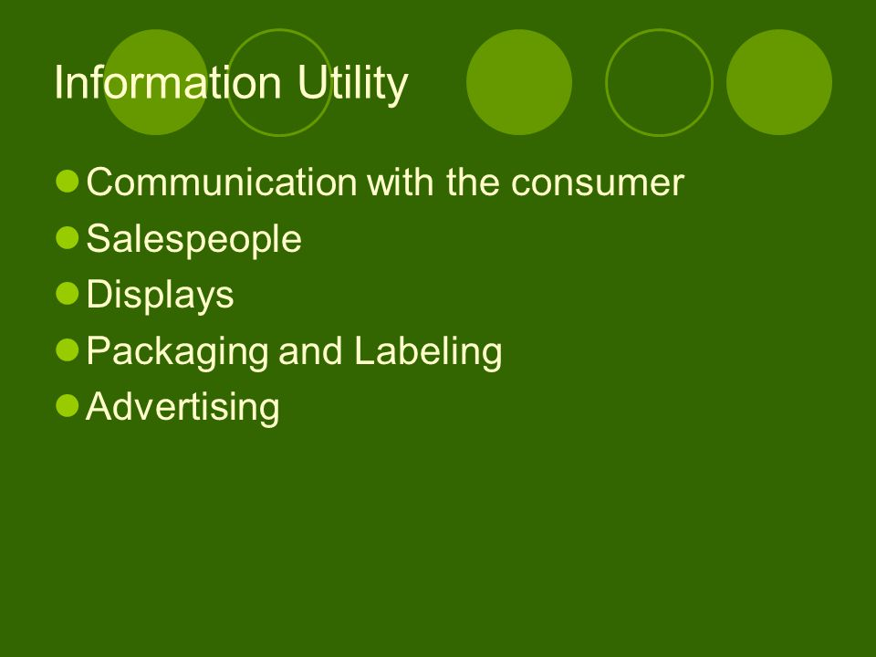Information Utility Communication with the consumer Salespeople