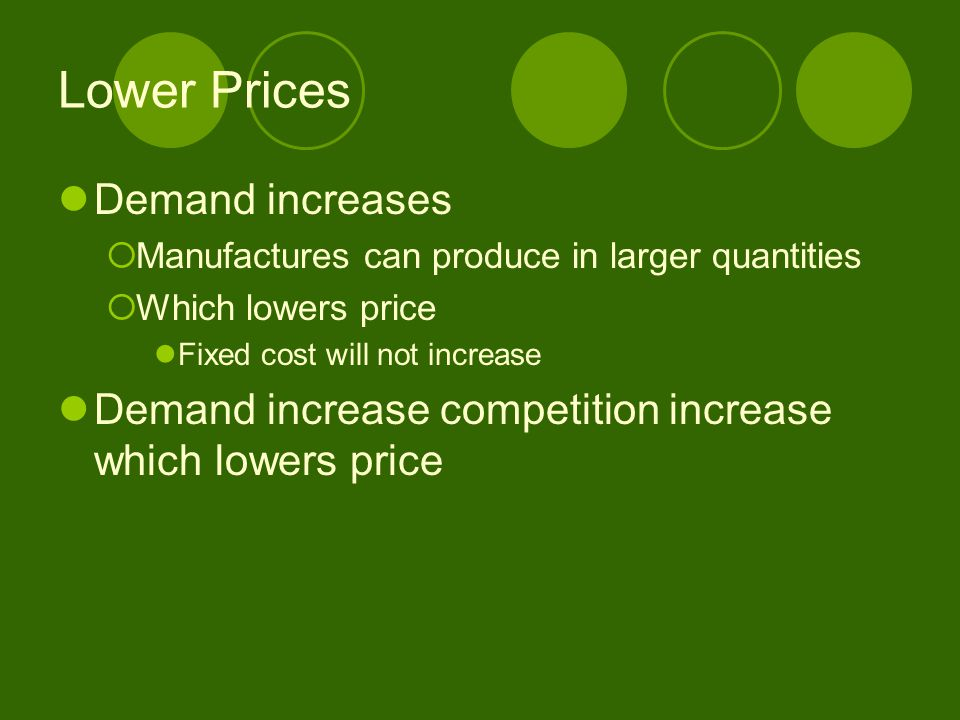 Lower Prices Demand increases