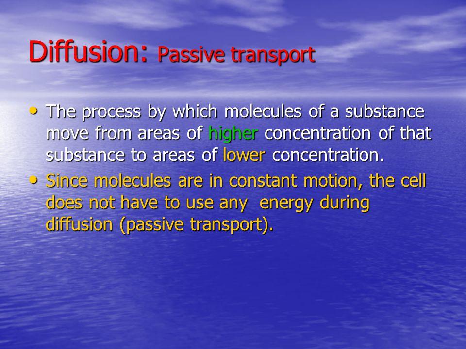 Diffusion: Passive transport