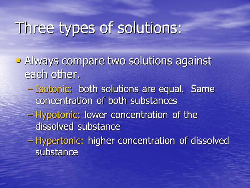 Three types of solutions:
