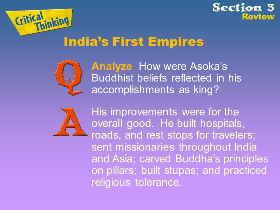 India's First Empires Analyze How were Asoka's Buddhist beliefs reflected in his accomplishments as king