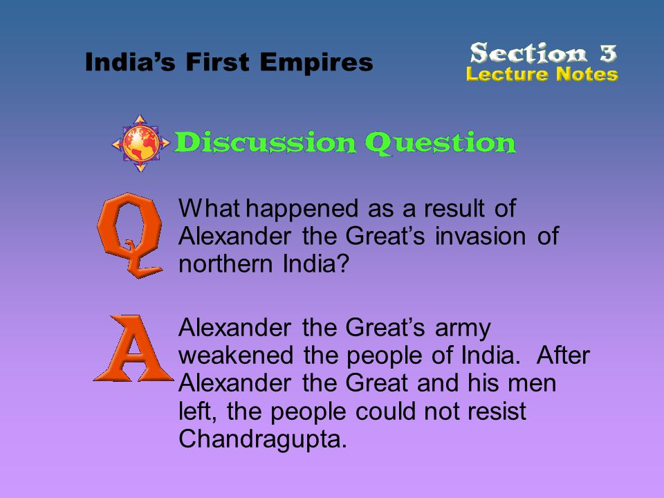 India's First Empires What happened as a result of Alexander the Great's invasion of northern India