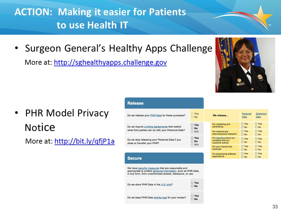 ACTION Blue Button Mash-Up Challenge – develop an app that mashes up PHR data with other health-related data sets.