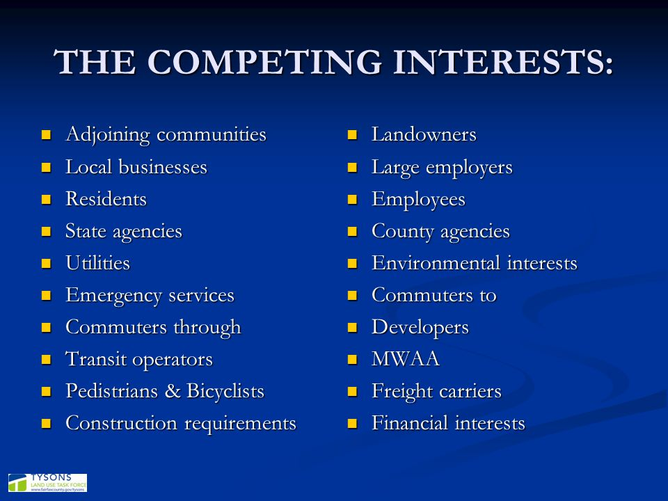 THE COMPETING INTERESTS:
