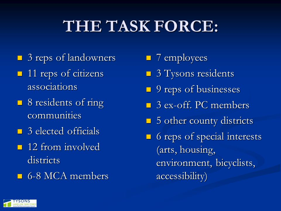 THE TASK FORCE: 3 reps of landowners 11 reps of citizens associations