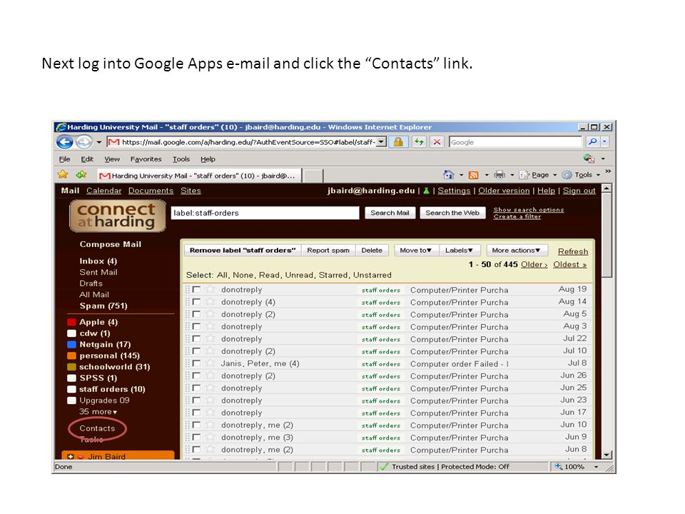 Next log into Google Apps e-mail and click the Contacts link.