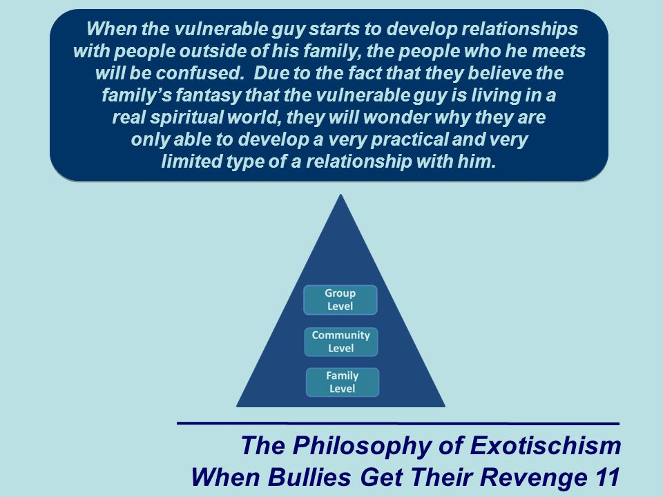 When the vulnerable guy starts to develop relationships with people outside of his family, the people who he meets will be confused.