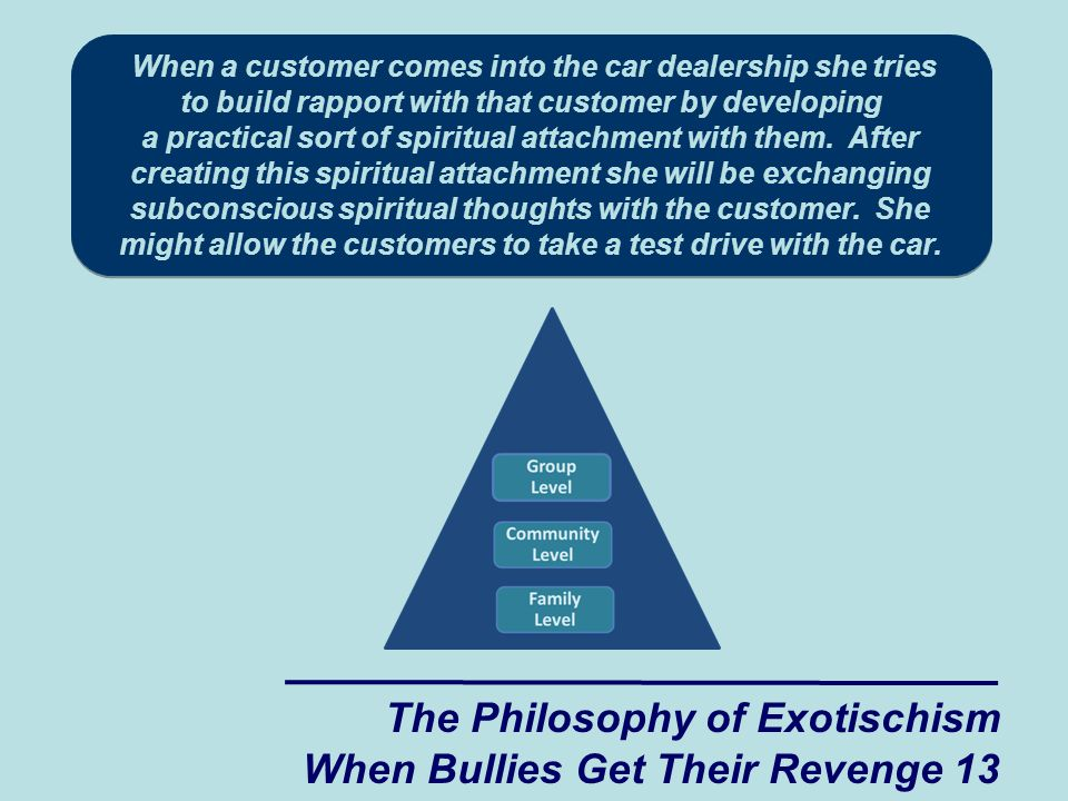 When a customer comes into the car dealership she tries to build rapport with that customer by developing a practical sort of spiritual attachment with them.