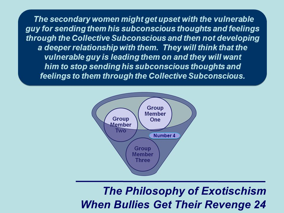 The secondary women might get upset with the vulnerable guy for sending them his subconscious thoughts and feelings through the Collective Subconscious and then not developing a deeper relationship with them. They will think that the vulnerable guy is leading them on and they will want him to stop sending his subconscious thoughts and feelings to them through the Collective Subconscious.