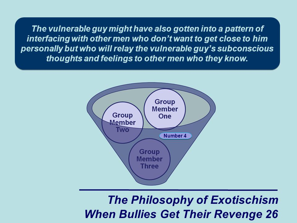 The vulnerable guy might have also gotten into a pattern of interfacing with other men who don't want to get close to him personally but who will relay the vulnerable guy's subconscious thoughts and feelings to other men who they know.