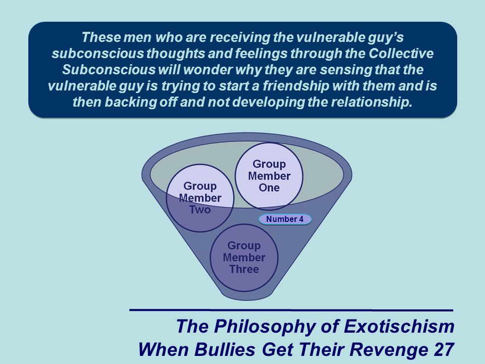 These men who are receiving the vulnerable guy's subconscious thoughts and feelings through the Collective Subconscious will wonder why they are sensing that the vulnerable guy is trying to start a friendship with them and is then backing off and not developing the relationship.