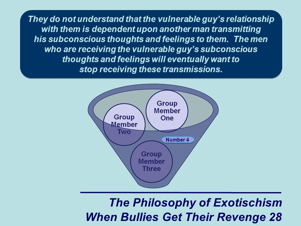 They do not understand that the vulnerable guy's relationship with them is dependent upon another man transmitting his subconscious thoughts and feelings to them. The men who are receiving the vulnerable guy's subconscious thoughts and feelings will eventually want to stop receiving these transmissions.