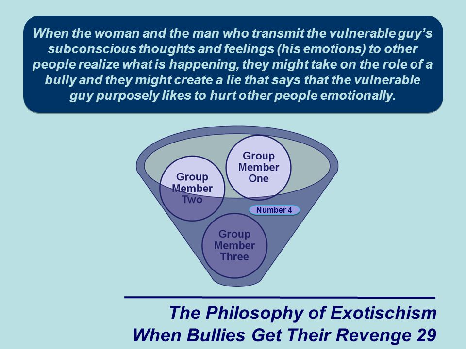 When the woman and the man who transmit the vulnerable guy's subconscious thoughts and feelings (his emotions) to other people realize what is happening, they might take on the role of a bully and they might create a lie that says that the vulnerable guy purposely likes to hurt other people emotionally.