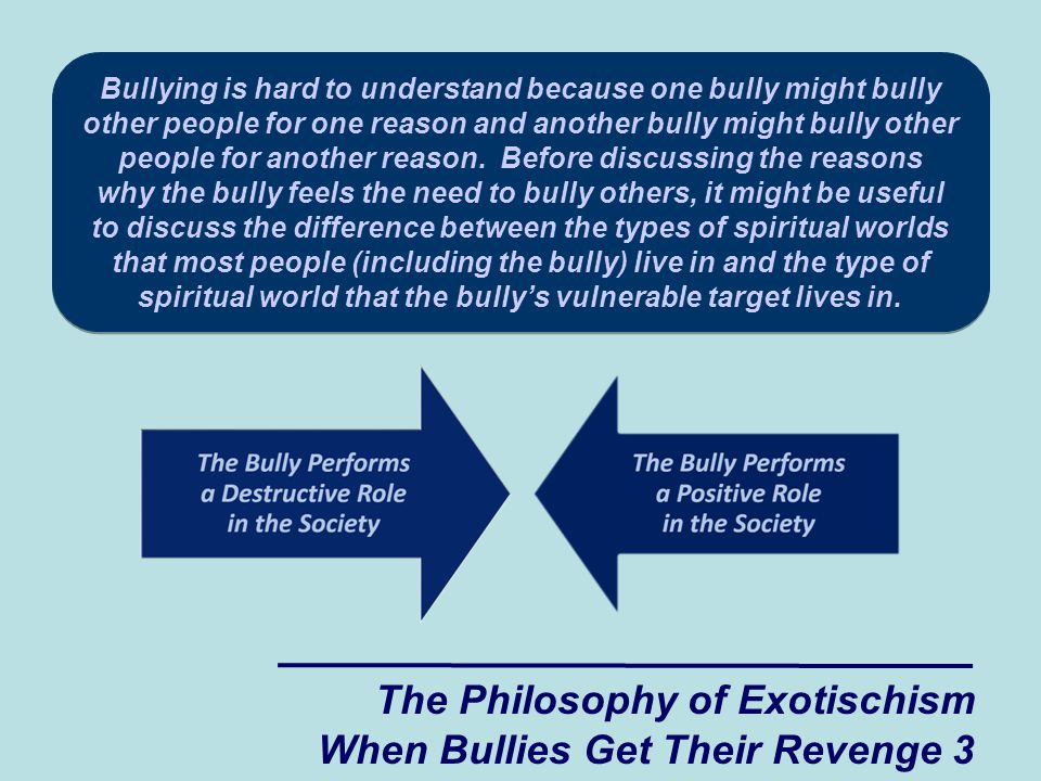 Bullying is hard to understand because one bully might bully other people for one reason and another bully might bully other people for another reason.