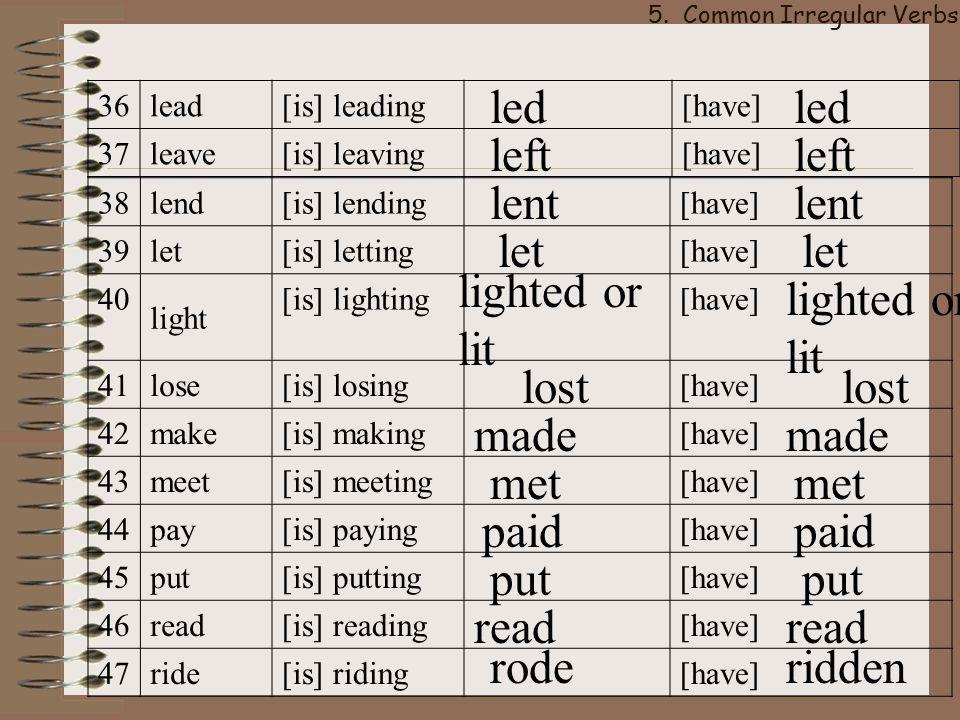 5. Common Irregular Verbs
