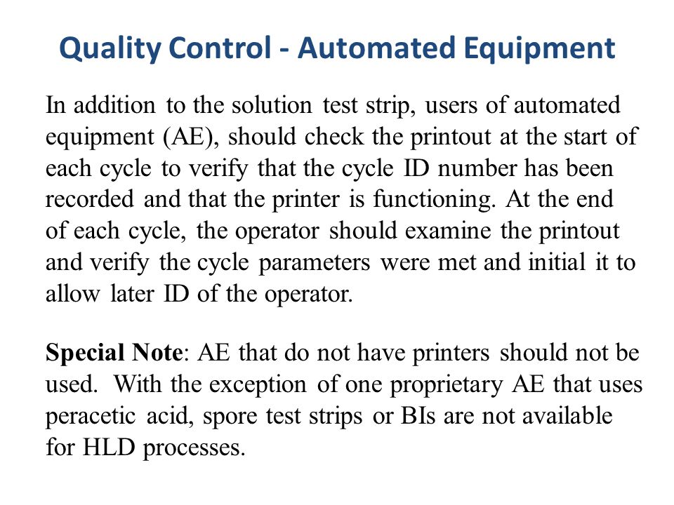 Quality Control - Automated Equipment