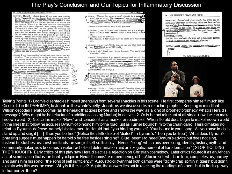 The Play's Conclusion and Our Topics for Inflammatory Discussion