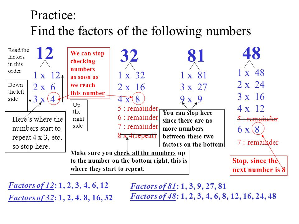 12 32 81 48 Practice: Find the factors of the following numbers 1 x 48