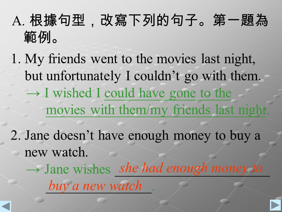 根據句型,改寫下列的句子。第一題為 範例。 My friends went to the movies last night, but unfortunately I couldn't go with them.
