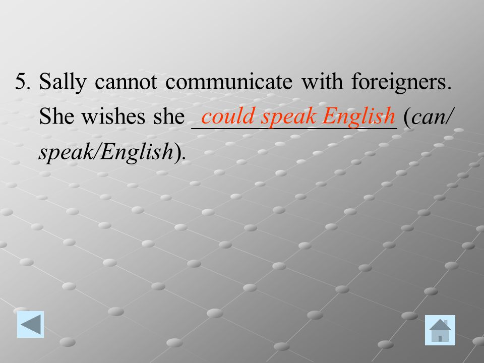 5. Sally cannot communicate with foreigners.